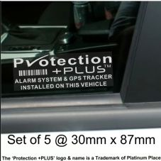 5 x Protection Plus-GPS-Alarm Security Stickers-Car,Van,Taxi,Tracker Warning